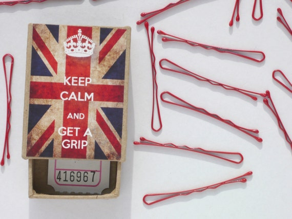 Keep Calm And Get A Grip Union Jack Bobby Pins Box Retro Style - Red or Pastel Hair Pins or Cute Mini Bobbypins Black Brown Blonde or Pink