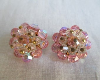 Vintage Iridescent Pink/Clear Crystal Earrings