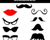Instant Download Mustache Disguise Kit  Digital Clip Art Personal or Commercial Use