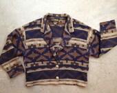 vintage 1980s southwestern jacket. cropped boxy coat. retro clothing. outerwear.