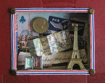 French Themed Shadowbox in Red Vintage Book, Paris, Eiffel Tower Scene