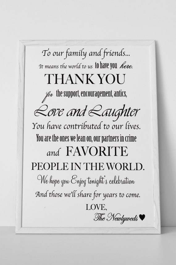 Wedding Gift Table Thank You Poem : DOWNLOAD Wedding Thank You Sign Decoration for Reception Bar or Tables ...