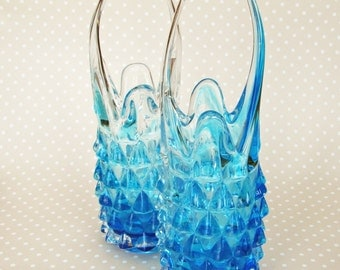 Vintage Retro Pair of Light Blue Turquoise Spikey Pineapple Basket Flower Floral Vases - Kath