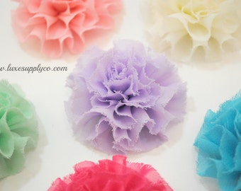 Frayed Chiffon Flower Puffs - You Choose the Colors and Quantity - Boutique Supplies - DIY Headband Supplies
