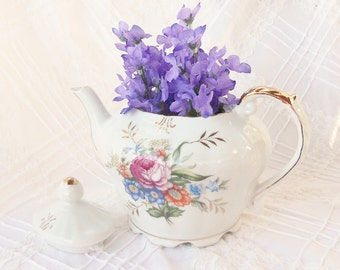 Cottage Style Floral Teapot, Tea Party, Shabby Chic, Bridal Gift, Housewarming Gift Inspired, Pride and Prejudice