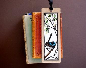 Blue Wren Bookmark - Hand Painted Lino Print Bookmark - Made in Australia