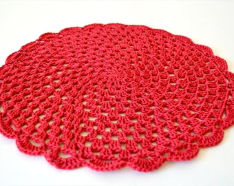 Crochet Red Doily