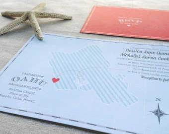 Destination: Oahu (Vintage Map Wedding Invitations)