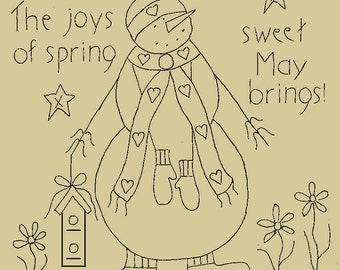 """Primitive Stitchery E-Pattern Snowman by Month """"May"""", """"The joys of spring sweet May brings!"""""""