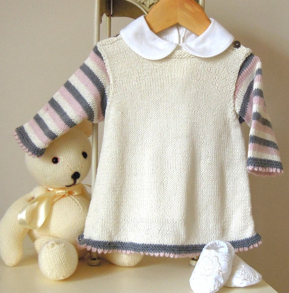 Baby girls dress with picot hem and stripe sleeves P022
