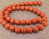 One Full Strand---Round  Orange Turquoise Beads----10mm ----about 40Pieces----15.5inch strand