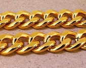 """Cut Gold Chain Metalic Aluminium Chunky Curb Chain ----- 19mmx 22mm---thickness about 5mm----38"""" in length Gold Chain for your Jewelry"""