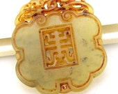 Antique Style Long Life  Jade Pendant  Double Side Jade Pendant Gemstone bead  Amulet Talisman Carved  Lucky Happy Jade for your jewelry