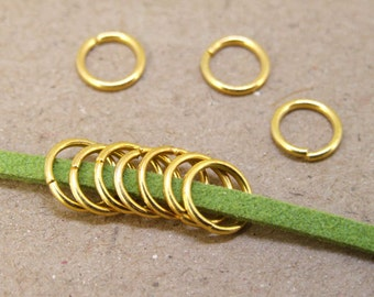 100Beads Charm Jump Rings Gold Plated Victorian Connector Beads ----- 8mm ----- 100Pieces Jewelry Supplies Yellow Jump Rings 2D