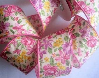 "Floral Fields Wide Wired Cotton Ribbon, Multi-Pink, 2 1/2"" inch wide, 1 yard, For Home Decor, Gift Baskets, Victorian & Romantic Crafts"