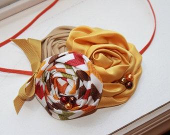 Chevron Fall Brown, Tan and Mustard Baby Headband, Newborn Headband, Baby Girl Flower Headband, Photography Prop