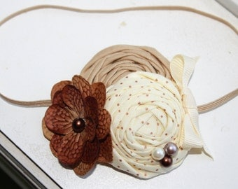 Ivory Cream and Brown Baby Headbands, Flower Headband, Newborn Headband, Baby Girl Headband, Photography Prop