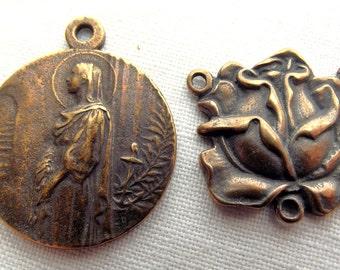 Bronze St. Philomena Medal & Rose Centerpiece Chaplet Set