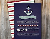 Nautical Baby Shower Invitation, Printable, Ahoy It's a Boy, Sailor, Digital File, Baby Boy, Navy and Red, 5x7