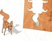 postcard wood - 3 fox cards