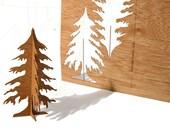 postcard wood - 3 fir cards