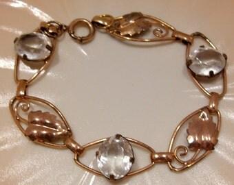 12K Gold Filled on Sterling Rhinestone Link Bracelet in Original Box