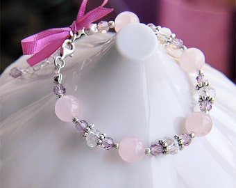 Kids Jewelry, Pink Childs Bracelet, Rose Quartz and Swarovski Crystals, Sterling Silver, Baby Child Girl Jewelry, Gift For Kids