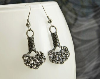 OOAK Jewelry Fine Silver Celtic Love Knot Earrings Authentic Timeless Oxidized Woven Wire Gift for Her Nautical Kazaziye Earrings