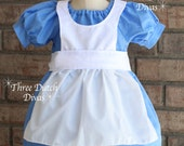 Alice in Wonderland inspired peasant dress 4-8 Custom princess party dress up
