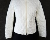 authentic 80s MONCLER France ivory quilted jacket/ fitted lightweight/ made in Italy:  Moncler Fr size2=US size 4-6 woman