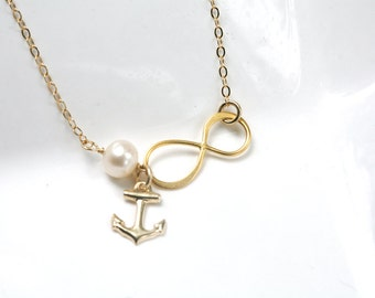 Gold infinity Anchor necklace,Anchor necklace,Beach wedding,infinity necklace,bridesmaid gifts,Navy,Personalized,figure eight charm