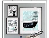 Relax Bird Collage Blues Greys Black Bathroom Art Wall Gallery Digital Print  -Set of (3) -  Prints -  16x20, 8x10, 5x7, (UNFRAMED)
