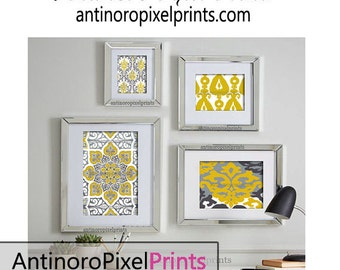 Mustard Yellow Greys Art Wall Gallery Digital Print Vintage / Modern Inspired -Set of (4) -  Prints -  11x14, 8x10, 5x7, 4x6 (UNFRAMED)