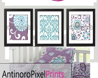 Brooklyn Art Baby NurseryArt Prints Collection  -Set of (3) - 8x10 Prints -Purple Grey White   (UNFRAMED)
