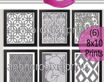 Shades of Grey and White Wall Art  Modern Damask Inspired -Set of 6 - 8x10 Prints -  (UNFRAMED) #103300244