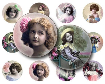 BUY 1 GET 1 FREE - Children collage sheet Digital Collage sheet 1x1 inch for jewelry circle pendants & magnets  digital collage sheet
