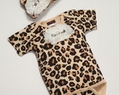 Leopard Print Baby Girl One Piece Set Short Sleeve Leopard Set with  Chiffon Flowers and Rhinestones