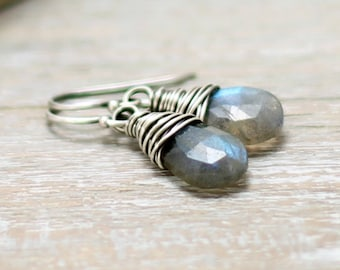 Labradorite Earrings, Oxidized Sterling Silver Wire Wrapped Blue Flash Labradorite Jewelry Dangle Earrings