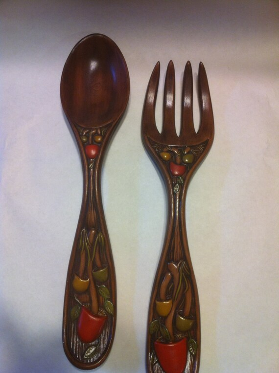 Vintage 1970 39 S Fork And Spoon Wall Decor