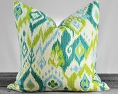 Pillow Cover - Ikat Baby Blue Turquoise Teal Chartreuse Green Ivory - Toss Pillow, Accent Pillow, Throw Pillow