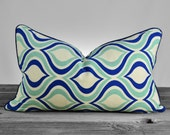 Pillow Cover - Blue Aqua Peacock Lumbar Pillow Cover with Navy Welting - SAME fabric both sides - Pick your Size