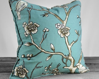 Dwell Vintage Blossom Bird - Jade Decorative Pillow - Pick Your Size