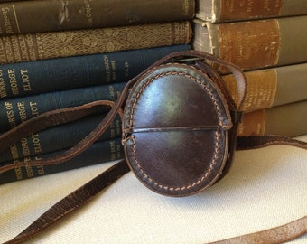 Early 1900s Pocket Watch Leather, Compass Case Dark Brown, Handsewn Leather Case, Made in Canada