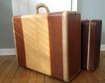 1940s Leather Tweed Pinstriped Suitcase