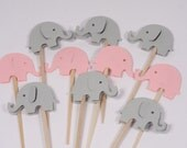 24 Pink and Grey Elephant Cupcake Toppers/Food Picks/Party Picks/Baby Shower No. 183