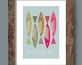 Kitchen Wall Art, Home Décor, Inspirational Quote, Retro Poster, 'Sardines', Alan Bennett, typography print, Kitchen Wall Art, Fish print