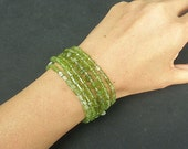 Natutral Gemstone Peridot 925 Sterling Silver Stacking Bracelet In Assorted Shapes - Choose Your Own Style