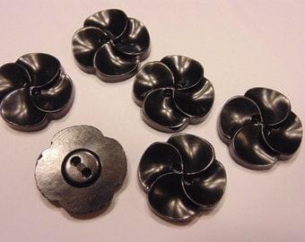 6 large  vintage black flower buttons , 22 mm (B1)