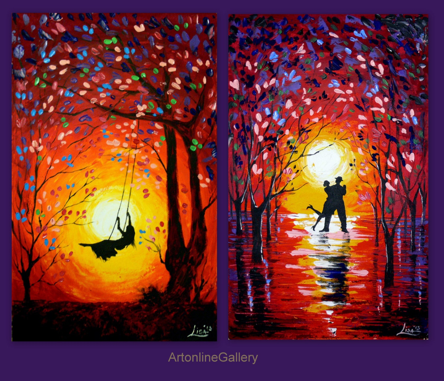 Set Of Two Paintings Original Abstract Dancerssunset Swing