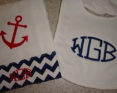 Nautical Burp Cloth and Matching Bib Monogrammed